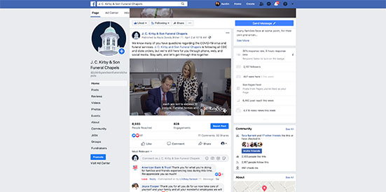 J.C. Kirby and Sons Funeral Chapels facebook page screen grab