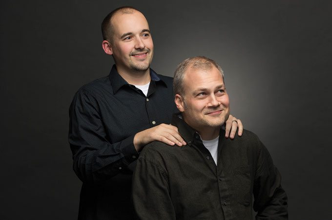 Co-Founders of Sublime Media Group Austin Albany and Jon Doss posed like the famous Step Brothers photo