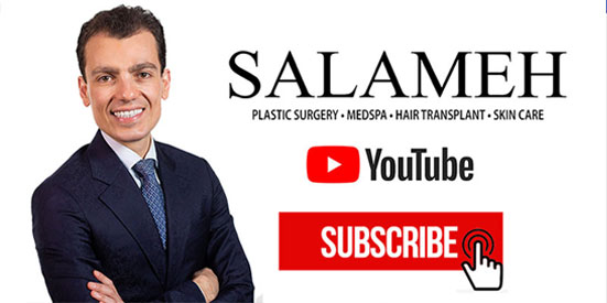 Salameh Plastic Surgery YouTube promotional graphic with Dr. Salameh smiling with arms crossed and a 'subscribe' button