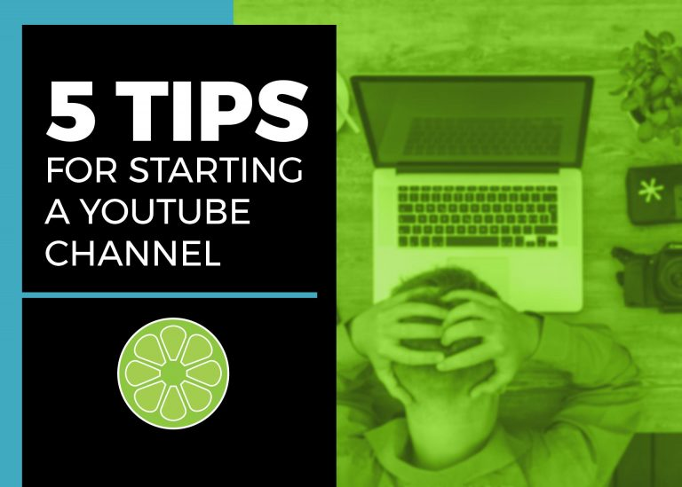 5 Tips for Starting a YouTube Channel Blog Post Graphic with frustrated person on a computer.
