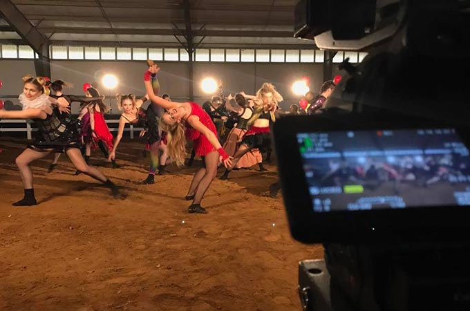 Behind the Scenes photo of a Sublime Media Group video production shoot with WKU Dance Department for Charity Ball
