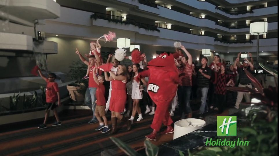 WKU video production shoot showing a crowd of fans and Big Red the WKU mascot