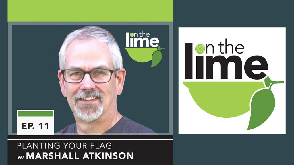 Marshall Atkinson, apparel decorating professional with 'on the lime' marketing podcast logo