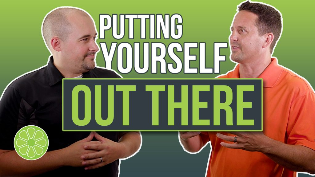 Austin Albany, Creative Director at Sublime Media Group and Matt Plapp from Matt Plapp TV talking with 'putting yourself out there' text