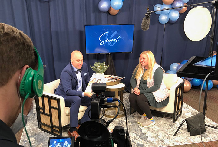 Stephen Stucy hosting Virtual Charity Ball 2020 interviewing Magen Eastep from VIP Bowling Green.