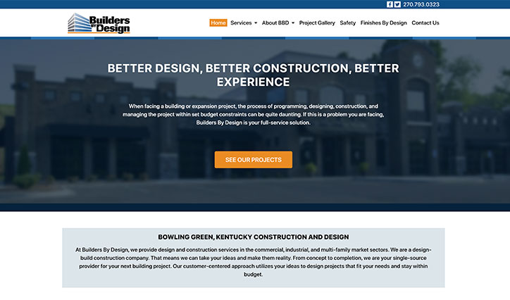 Builders By Design Homepage Screenshot