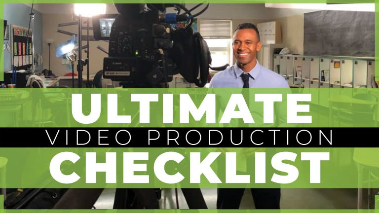 african american male teacher in a classroom with 'ultimate video production checklist' text