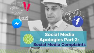 """Man in construction hat looks at customer complaint on his phone, alarmed. """"Social Media Apologies Part 2: Consumer Complaints"""""""