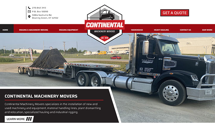 Continental Machinery Movers website homepage example with large black semi truck hauling equipment