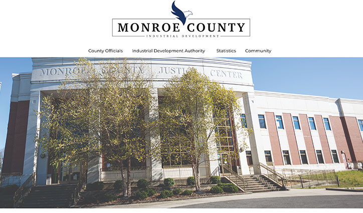 Monroe County Industrial Authority Homepage Design Example with photo of the Monroe County Justice Center